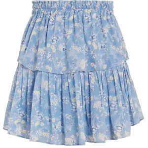 LoveShackFancy Ruffle Mini Skirt in Blue Jay